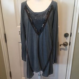 Free People Beaded Fringe Tunic Dress/Top Size L